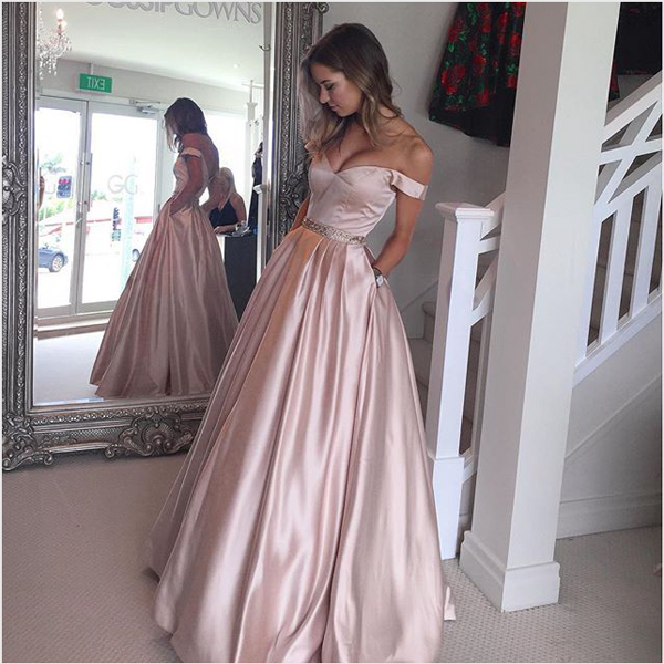 9258a204468 New Arrival Blush Pink Off the Shoulder Ball Gown Prom Dresses,Bodice  Beaded Waist Long Evening Prom Gowns With Pocket Graduation Dresses BON72  on Storenvy