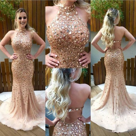 5b451e7f6bae Luxury Crystals Mermaid Prom Dresses Halter Neck Open Back Long ...