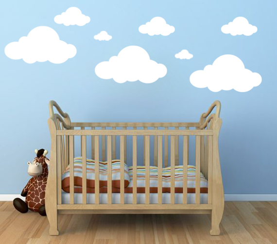 Cloud Wall Decals, Clouds vinyl Decal, Clouds Decal, Nursery Wall Decal,  Children Room Decor Playroom Vinyl Wall Decal Nursery Room Clouds sold by  ...