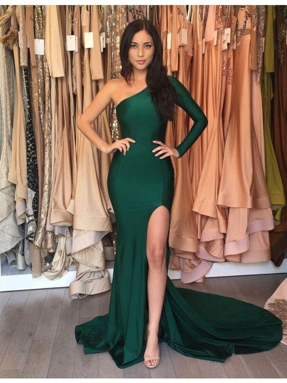 Emerald Green Long Mermaid Prom Dressessexy Evening Dressmermaid