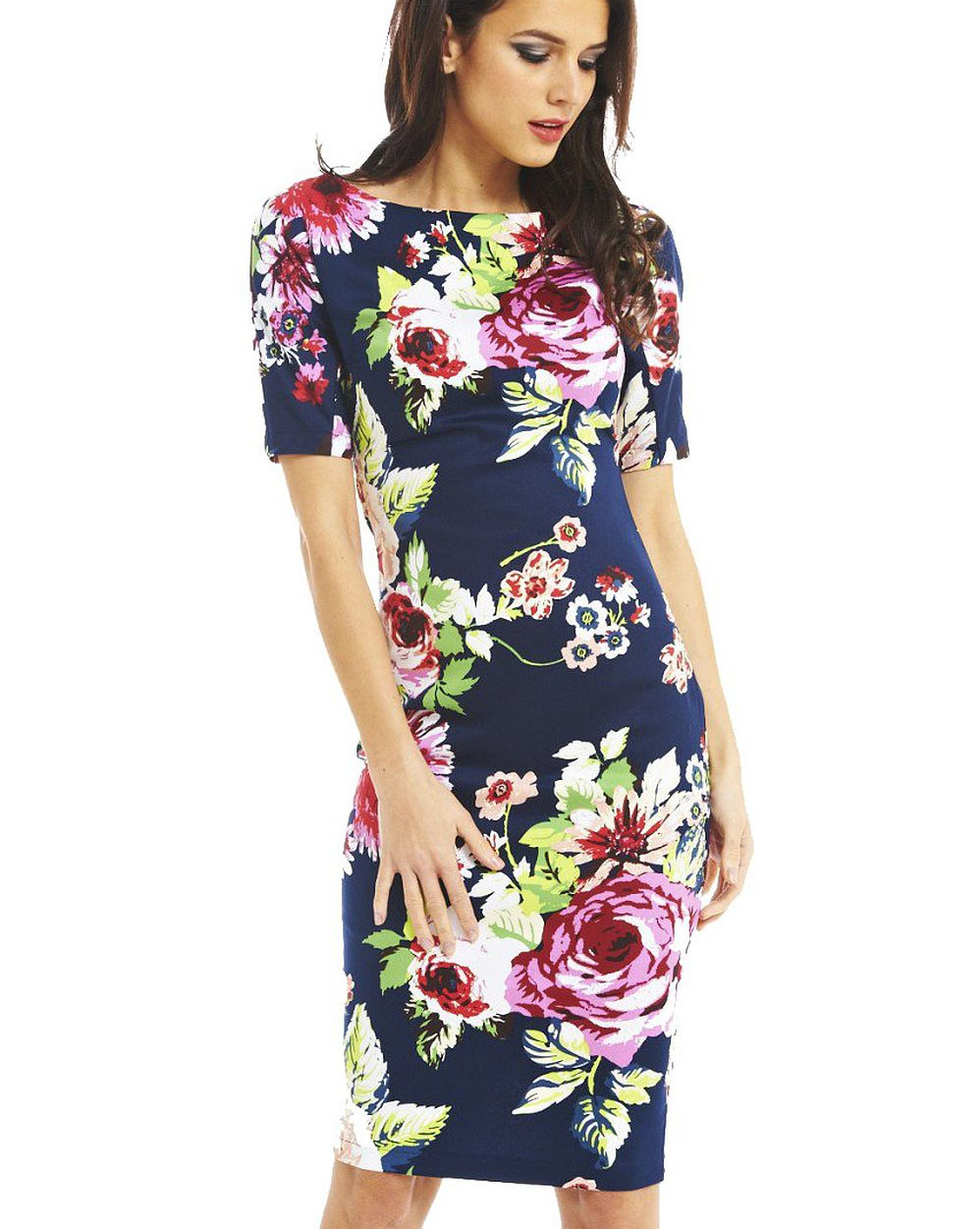 Women Dress Summer Elegant Floral Print Wear To Work Business Casual Party Vestidos Be106