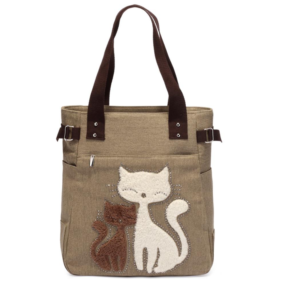 ff380ea88a17 FREE Shipping Fashion Women Bag Canvas Women Handbag Casual Tote Bag Cute  Cat Shoulder Bag Lady Handbags Large Bag