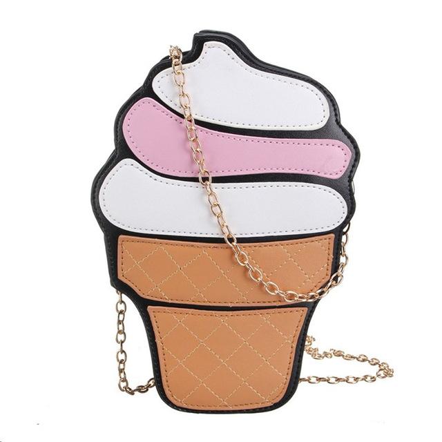 b0aec0170731 New cute women cupcake ice cream shape crossbody bags cartoon fashion chain  pu leather ladies small