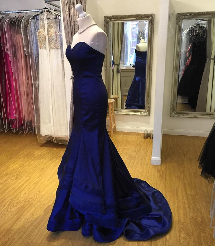 A398 Royal Blue Sweetheart Prom Dress, Chiffon Prom Gown Long Party ...