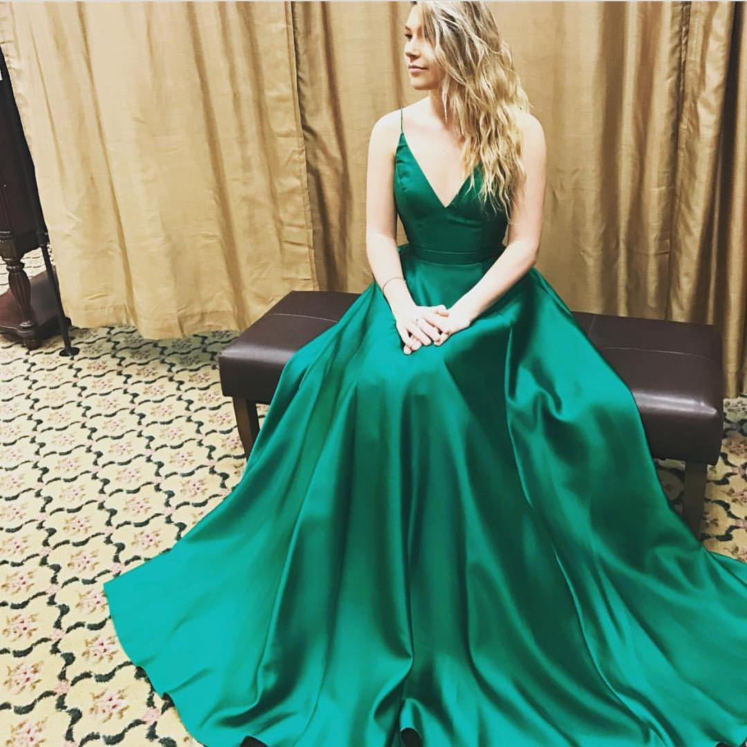 A408 Green Satin Ball Gowns Prom Dresses 2017 Prom Dresses,Spaghetti ...