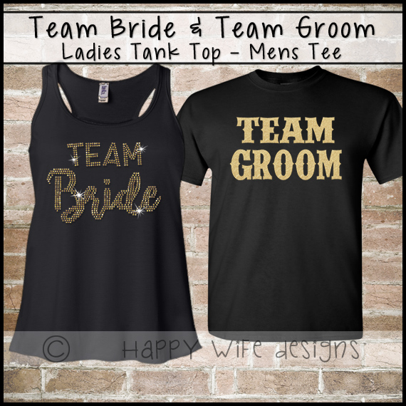 3d9aedfb92357 Team bride team groom original · B8800 ladies flowy racerback tank ...