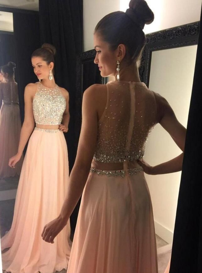 dd04d399f82ce Handmade Beaded Two Piece Prom Dress,Sexy Open Back Prom Dress,Blush  Evening Dress