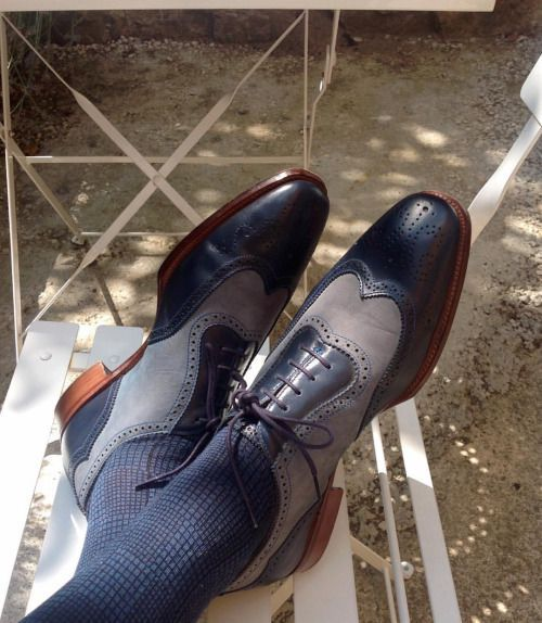 164fea80fb6 Handmade Mens wing tip Two tone formal shoes