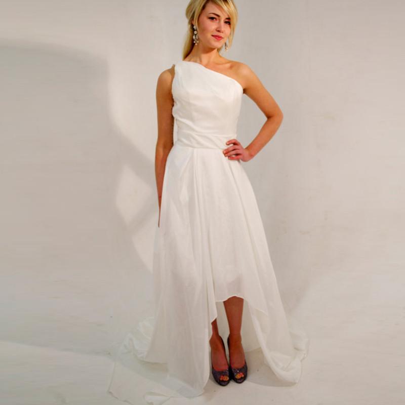 Simple White Evening Dresses One-Shoulder Satin Pleat Elegant Women ...