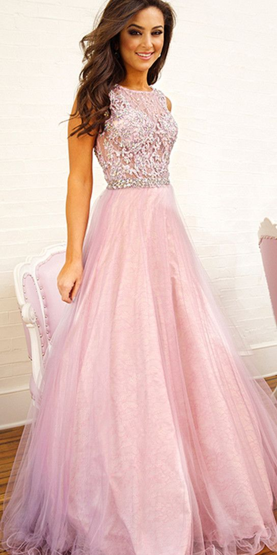 Glamorous Pink Beading Prom Dresssexy See Through Evening Dress