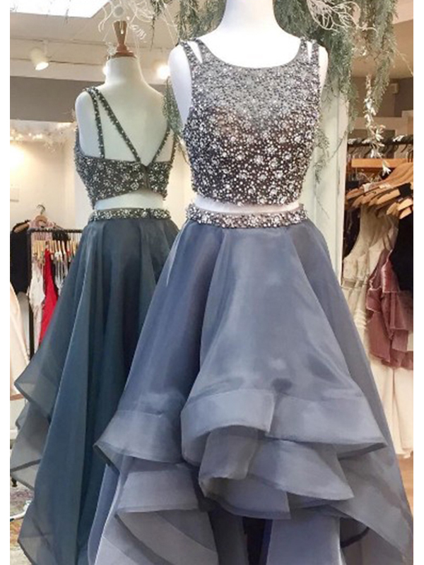 Two Pieces Beaded Ball Gown Vintage Formal Evening Party Long Prom ...