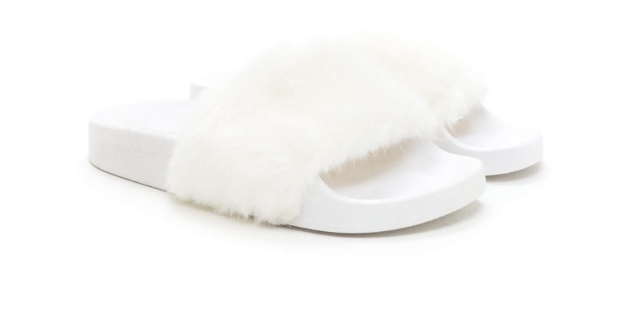 469839fbeb8 White On White Faux Fur Slides on Storenvy