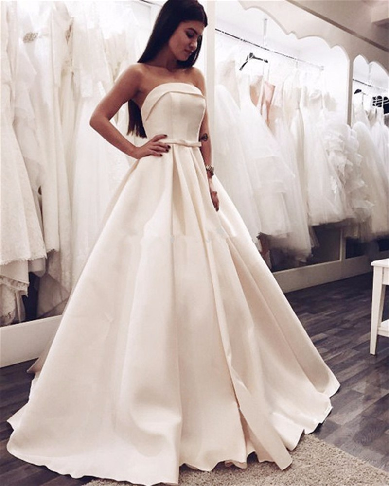 Elegant White Prom Dress Evening Dress Ball Gown Long Satin Prom ...