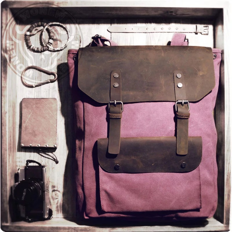 0d8377fd00d1 ... Bookbag Mochilas Travel Rucksack. Waxed Canvas Backpack   Canvas with  Brown Leather   Waxed Canvas Rucksack   Laptop Bag   Vintage Backpack    Camel(S42) ...