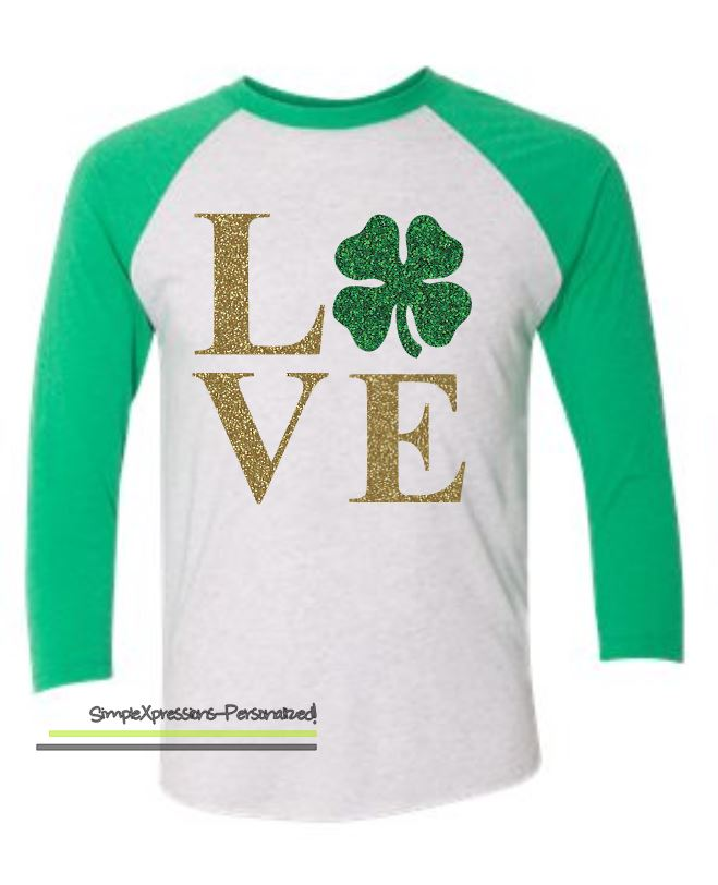 a541af2f St. Patrick's Day Shirt, St. Paddy's Day shirt- Raglan with Glitter ...