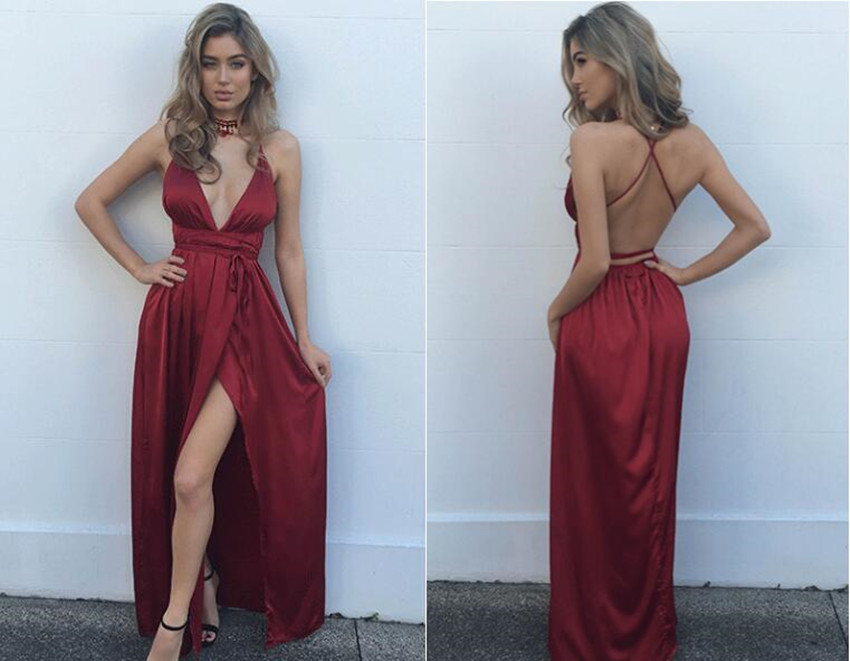 8faf6756a09 Sexy Hot Prom Dress Evening Dress Burgundy Wine Red Deep V-neck High Split  Long Prom Dresses Evening Dresses Party Dress on Storenvy