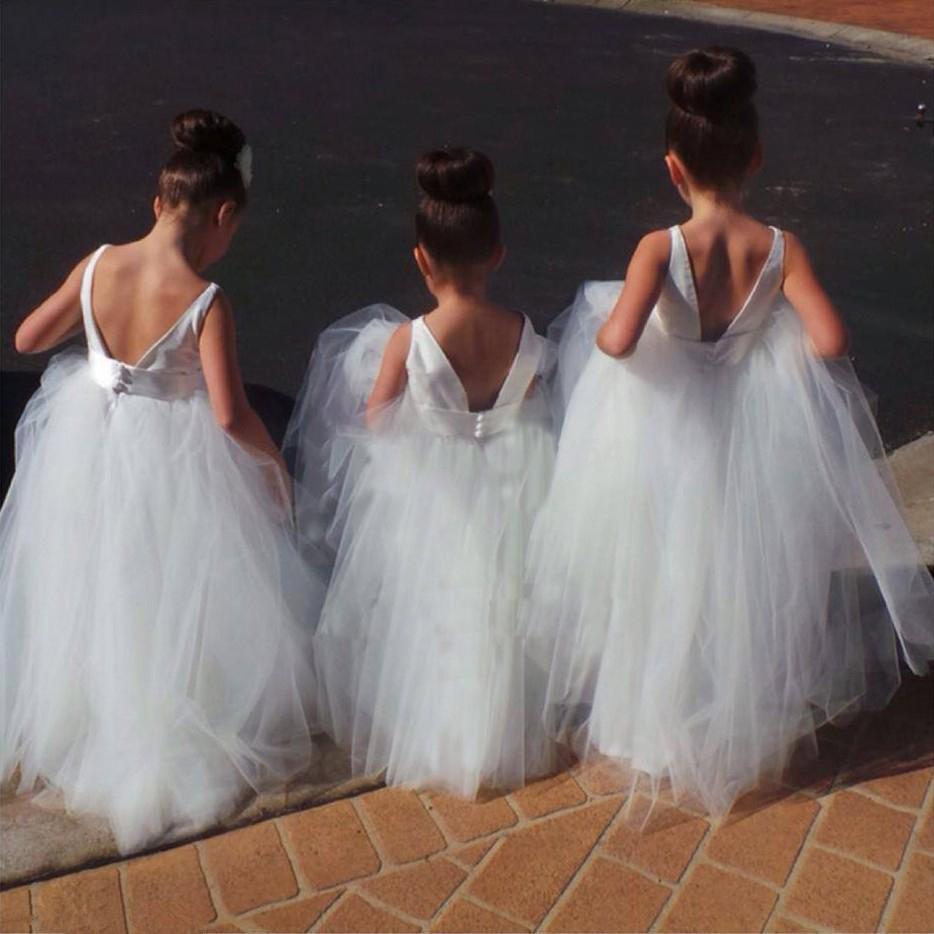 Princess A Line White Long Tulle Flower Girl Dress On Storenvy