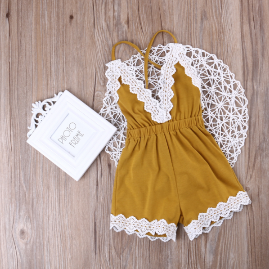 28e34f5cf51 Baby Toddler Mustard Yellow Lace Romper - Thumbnail 1 ...