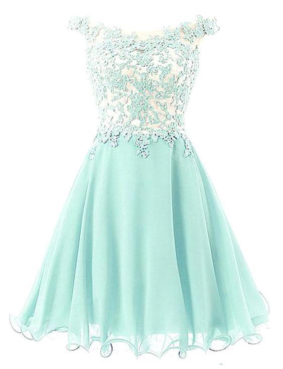 b351a869dc Off-shoulder Applique Mint Green Homecoming Dress