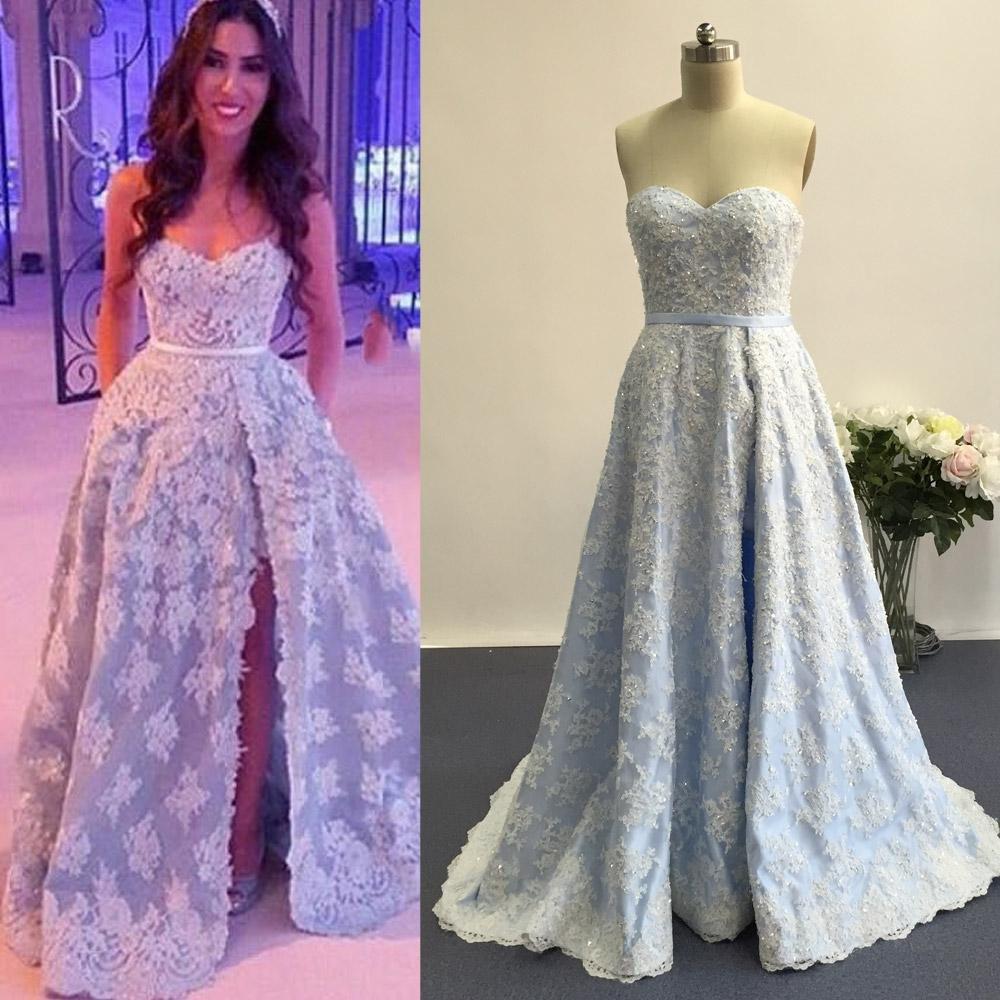 0940fa49 light blue Prom Dresses,lace applique prom dress,long prom Dress,side slit