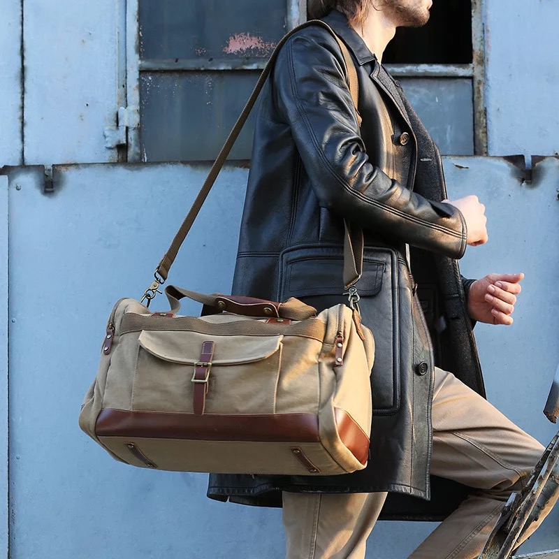 e518cb0c90 Waxed Canvas Duffle Bag   Weekend Bag   Duffel Bag Men   Men Duffle Bag