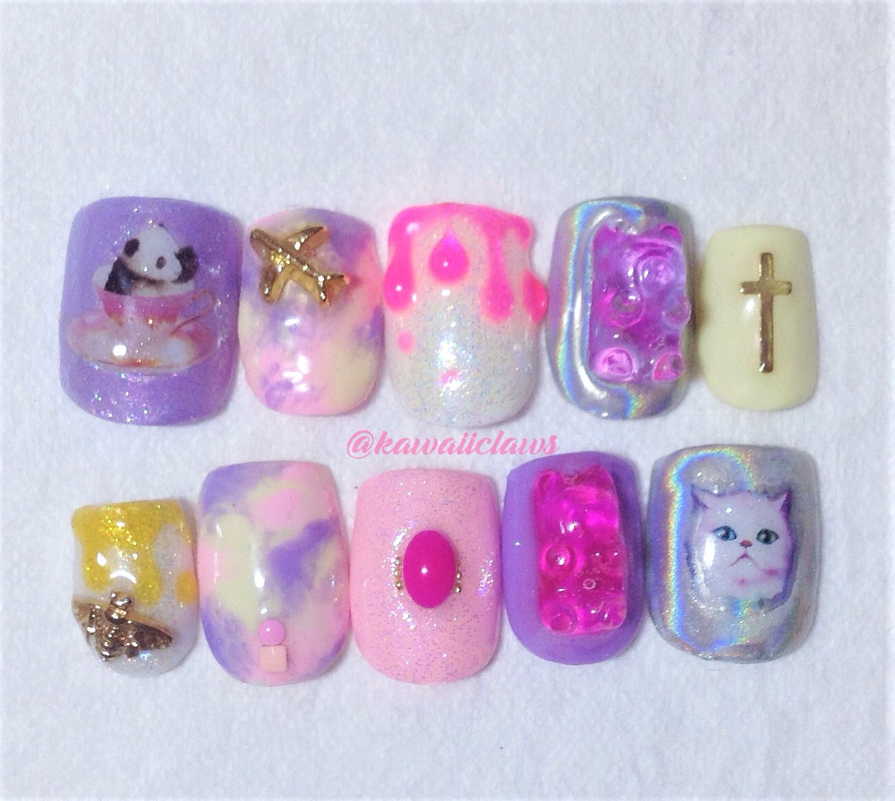 Kawaii Animal Pastel Marble Gummy Bears Mixed Design Gel Nail Art Press On False Fake Nails