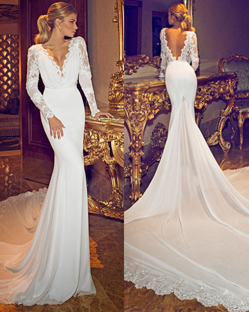 H254 Chiffon Lace Deep V Neck Long Sleeves Wedding Gowns Open Back ...