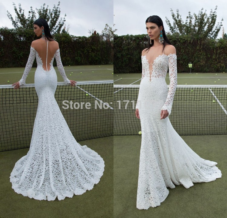 V-Neck Long Sleeve Lace Open Back Wedding Dresses