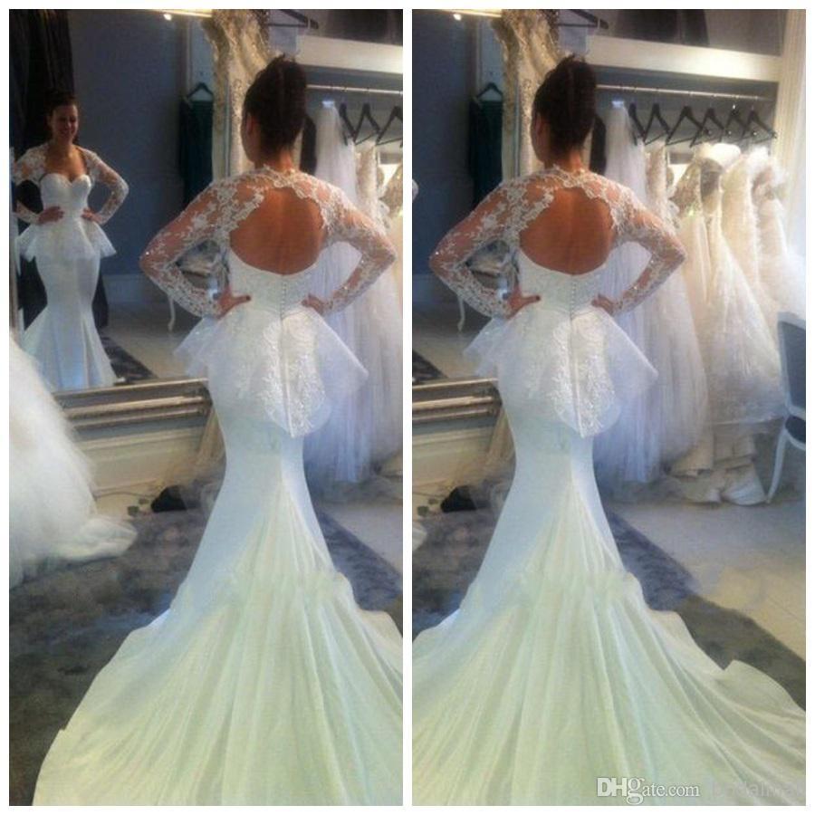 H283 Unique Mermaid Long Sleeve Wedding Dresses, Chapel Train ...
