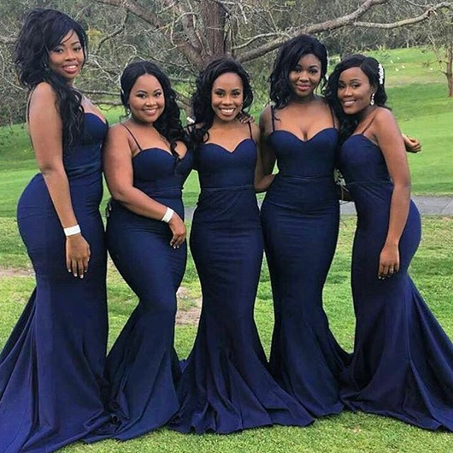 37f925e804c Spaghetti Straps Mermaid Long Navy Blue Bridesmaid Dress