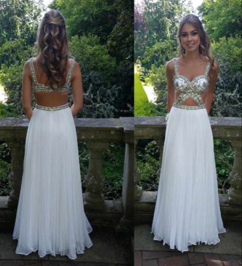 2017 Charming White Chiffon Prom Dress,Sexy