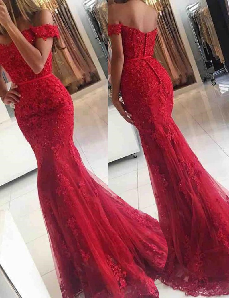 Red Off Shoulder Sweep Train Mermaid Long Prom Dresses With Beading ...