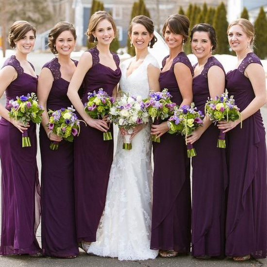 Cowl Neck Wedding Dresses Whimsical: Purple Bridesmaid Dress With Beautiful Cowl Neck, Column