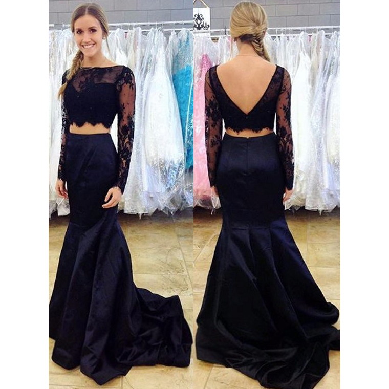 efc6730570e7 Navy blue two piece prom dress long sleeve lace prom dresses mermaid crop top  prom dress