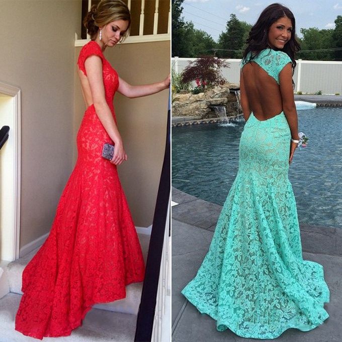 Hot Red Lace Prom Dress, Mermaid Open Back Prom Dresses, Latest Cap ...