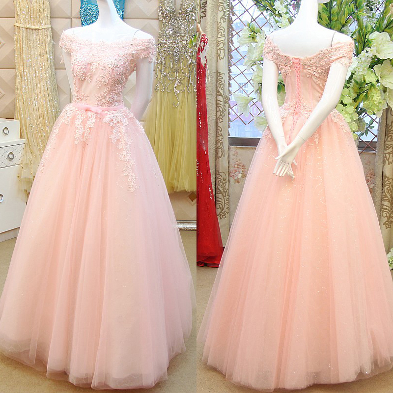 Pink Princess Prom Dresses with Lace Appliques, Off-the-shoulder ...