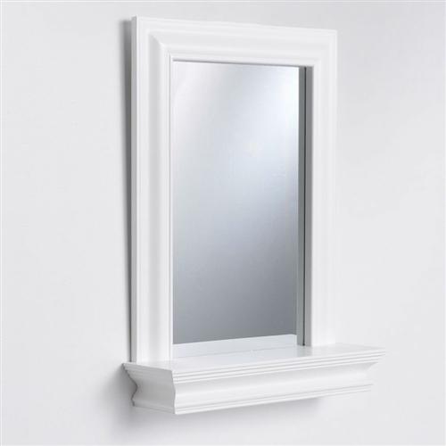 Framed Bathroom Mirror Rectangular Shape With Bottom Shelf In White Wood Finish Sold By Kaitlyn S Home Furnishings On Storenvy