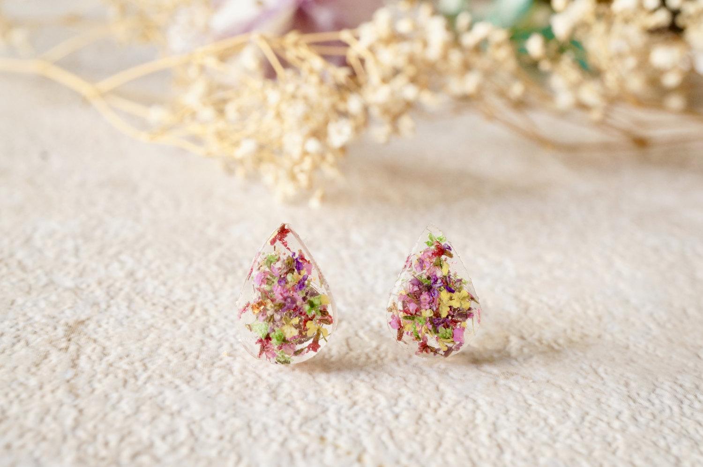 fd6ee9b60 Real Dried Flowers and Resin Teardrop Stud Earrings in Pink Purple Yellow  Red Green