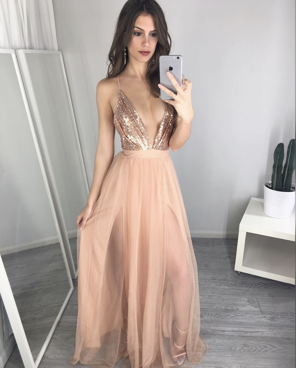 v neck sequin long prom dress,Unique prom