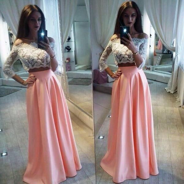 da2993261d Two Pieces White Lace Top Long Sleeve Pink Satin Long A-line Prom Dresses