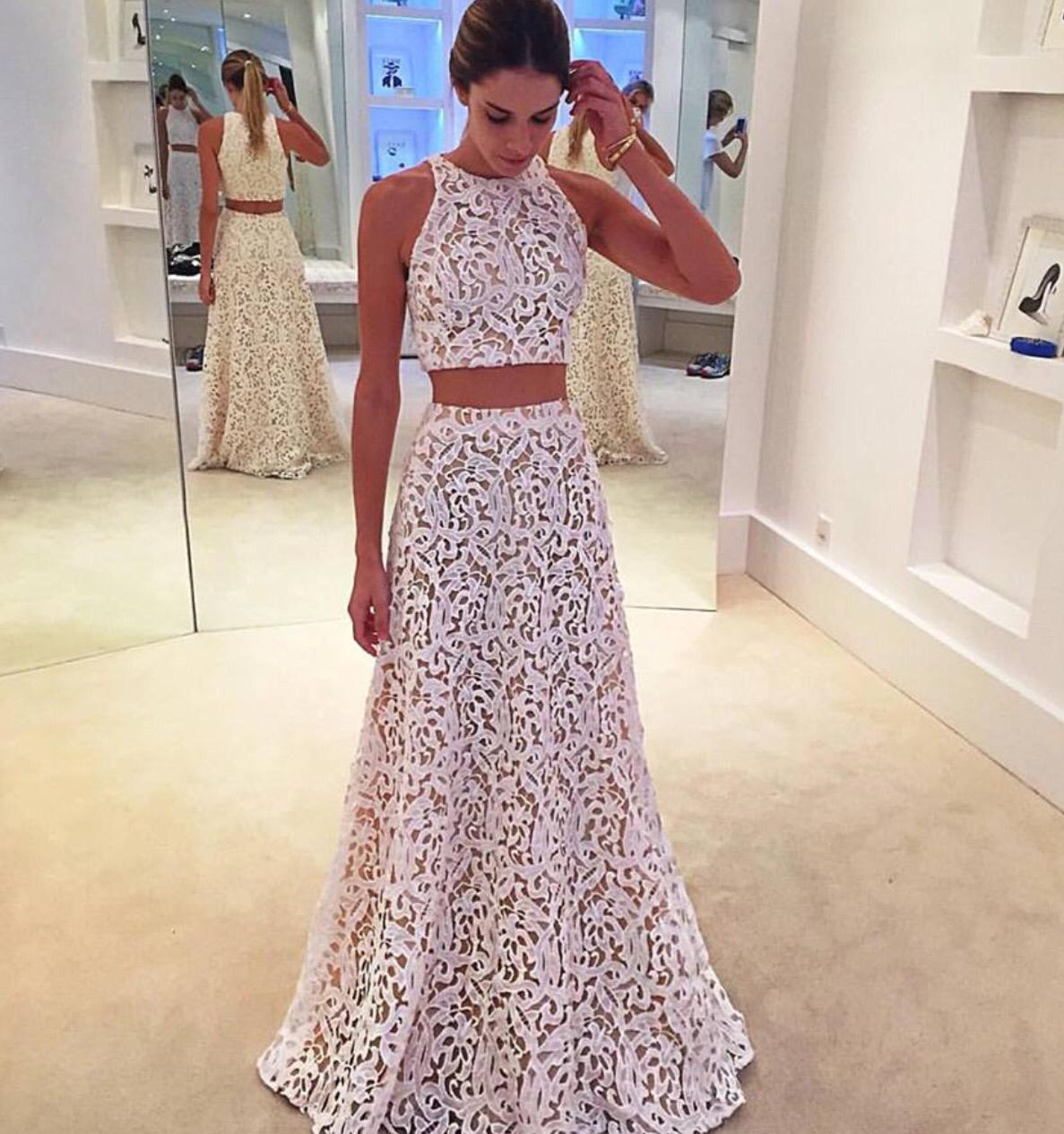 3a15693218b1 Elegant A-Line Two-Piece White Lace Long Prom Dress · dressthat ...