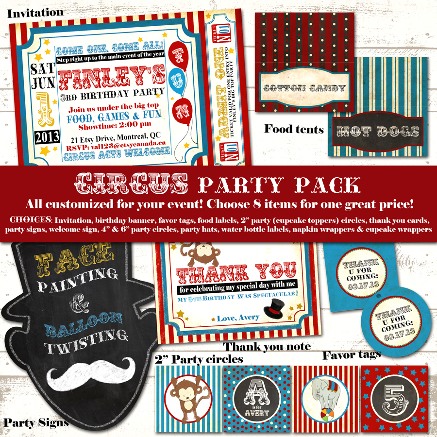 Etsy Retro Circus Party Pack01 8items Original