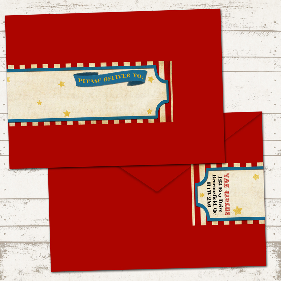 Circus Birthday Invitation With Wrap Around Address Labels