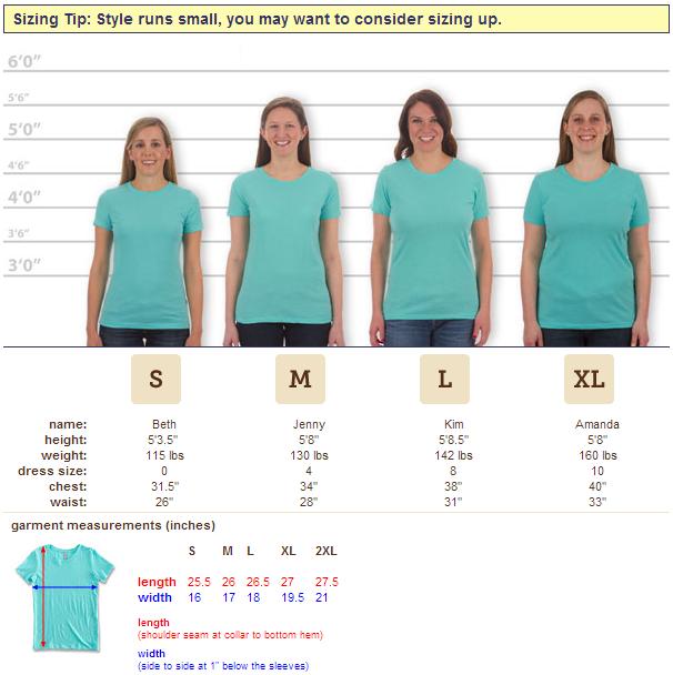 T Shirt Size Chart: #not My T-shirt - Women's