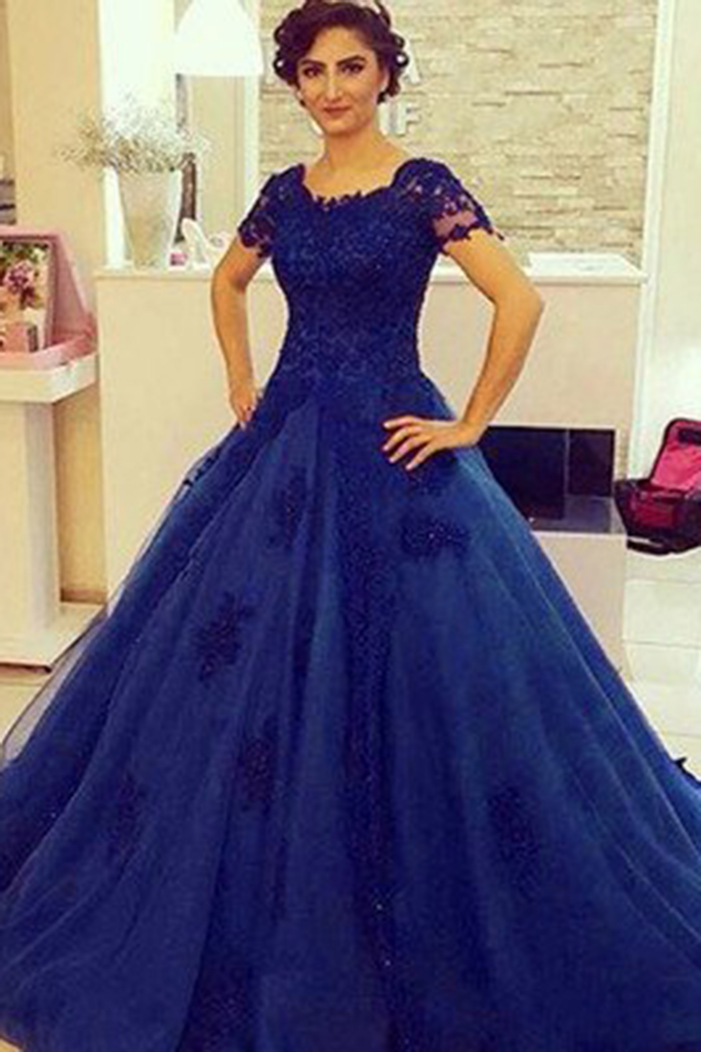 63794bcc126 Royal blue organza lace short sleeves A-line ball gown dresses