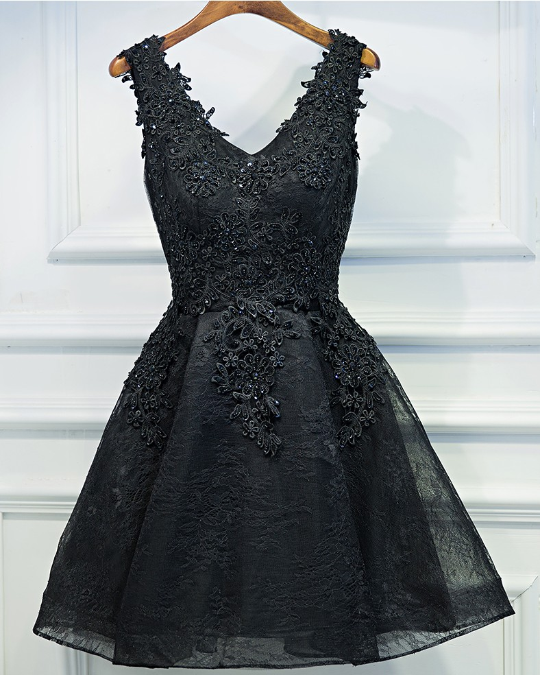 c29eefbc441e2 Elegant Prom Dress,Short Prom Gown, Prom Party Gown,Black Appliques  Homecoming Dress