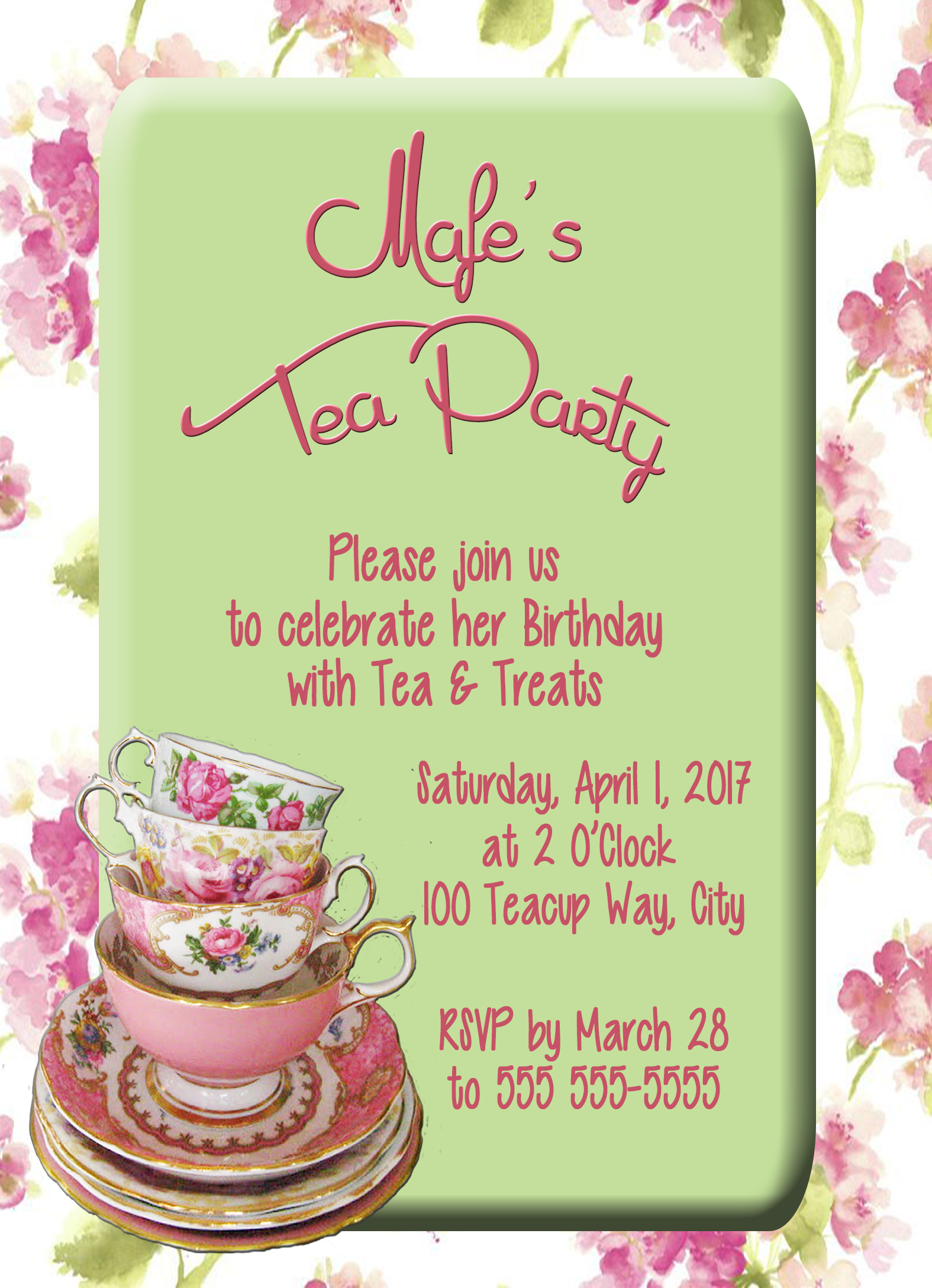 tea time party personalized birthday invitation 1 sided