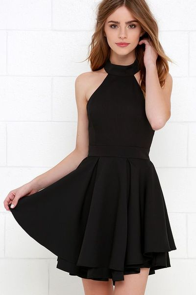 Simple Black Halter Dresses