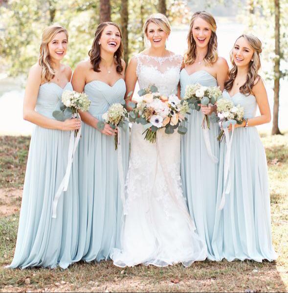 Strapless Sweetheart Neck Chiffon Bridesmaid Dresses Long Bridesmaid