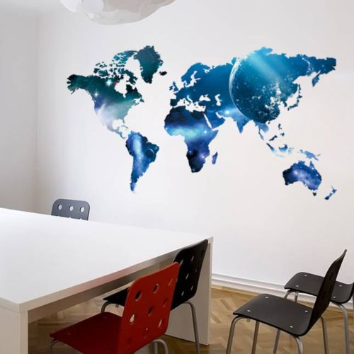 Galaxy world map removable pvc vinyl art wall sticker decal mural 3 small gumiabroncs Gallery